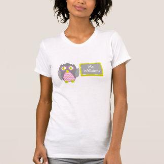Pink Chevron Gray Owl Teacher At Chalkboard Tee Shirt