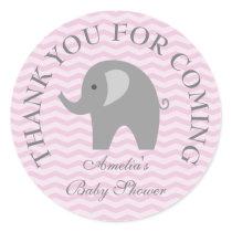 Pink chevron grey elephant girl babyshower sticker