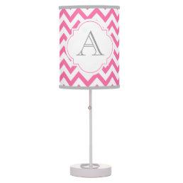 Pink Chevron Grey Monogram Table Lamp