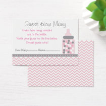 Pink Chevron Guess How Many Game Business Card