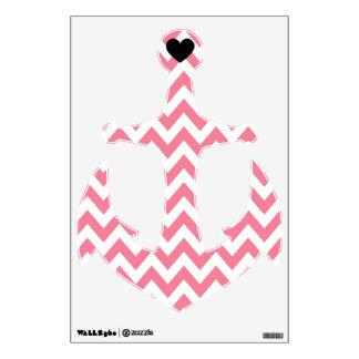 Pink Chevron Heart Anchor Wall Decal