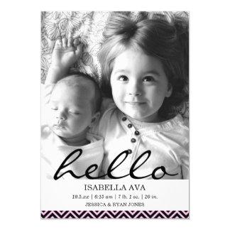 Pink Chevron Hello Photo Birth Announcement