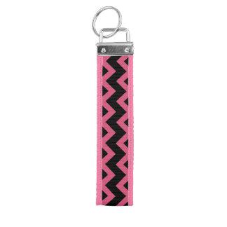 Pink Chevron Key Fob Wristlet Key Chain Wrist Keychain