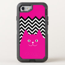 Pink Chevron Kitty Cat OtterBox Defender iPhone 7 Case