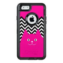 Pink Chevron Kitty Cat OtterBox Defender iPhone Case