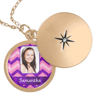 Pink chevron locket necklace