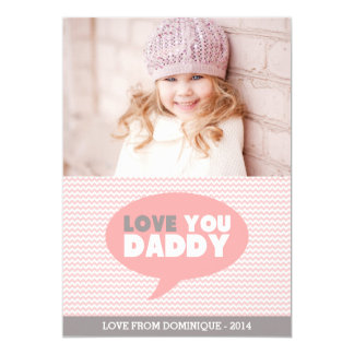 Pink Chevron Love You Daddy   Father's Day Card