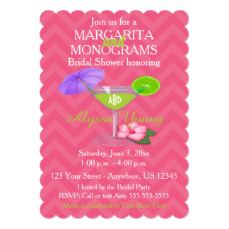 Pink Chevron Margarita Monograms Bridal Shower 5x7 Paper Invitation Card