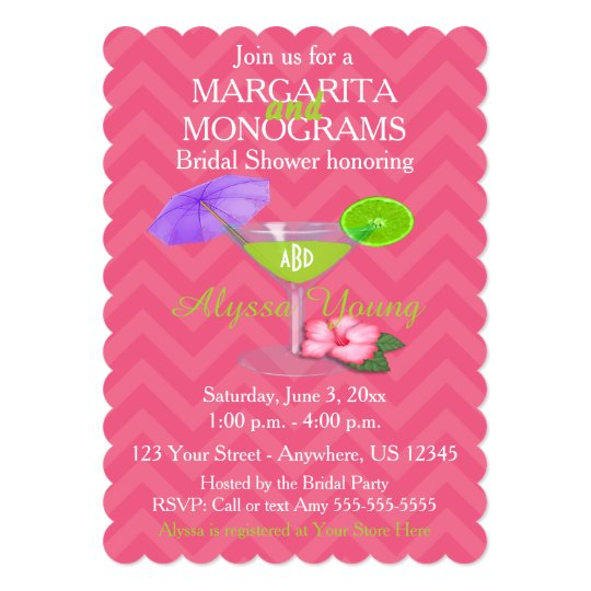 pink chevron margarita monograms bridal shower invitation