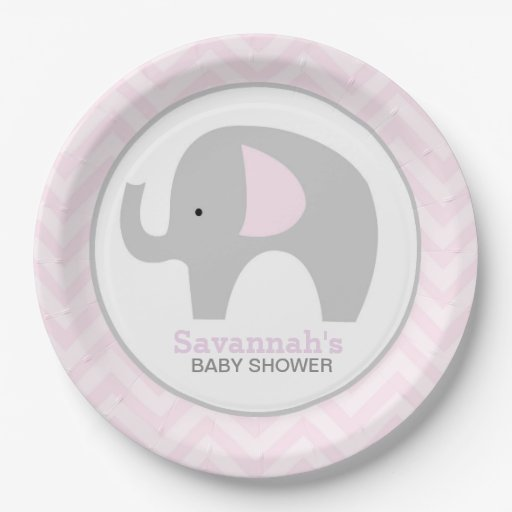 Pink Chevron Mod Elephant Baby Shower Plate