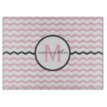 Pink Chevron Monogram Cutting Board