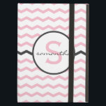 """Pink Chevron Monogram iPad Air Cover<br><div class=""""desc"""">Pink and charcoal gray chevron pattern with monogram.</div>"""