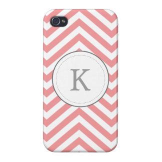 Pink Chevron Monogram iPhone Case iPhone 4/4S Cover