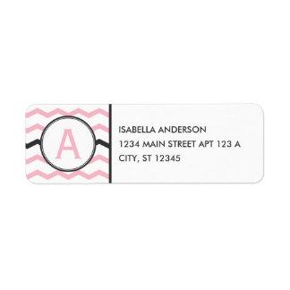 Pink Chevron Monogram Label