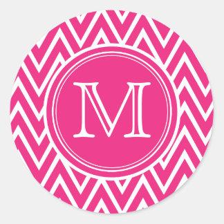 Pink Chevron Monogram Round Stickers