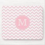 Pink Chevron Monogrammed Mousepad