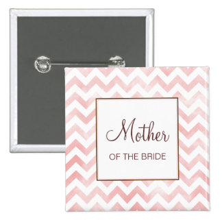 Pink Chevron Mother of the Bride Button