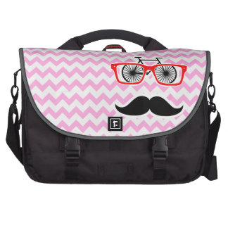 Pink Chevron Mustache; Funny Bags For Laptop