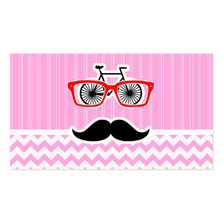 Pink Chevron Mustache; Funny Business Card Templates