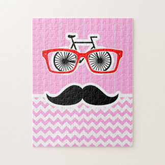 Pink Chevron Mustache; Funny Jigsaw Puzzles