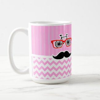 Pink Chevron Mustache; Funny Mugs
