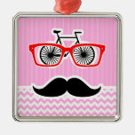 Pink Chevron Mustache; Funny Square Metal Christmas Ornament