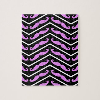 Pink Chevron Mustache multiple products selected Jigsaw Puzzle