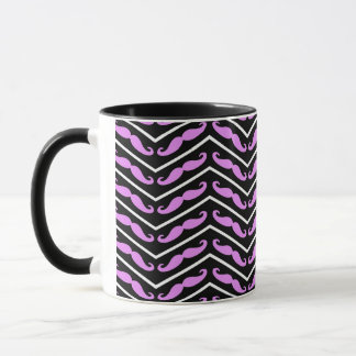 Pink Chevron Mustache multiple products selected Mug