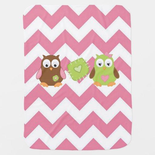 Pink Chevron Owl Baby Blanket Zazzle