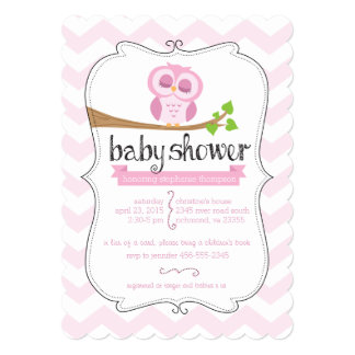 Pink Chevron Owl Baby Shower Invitation