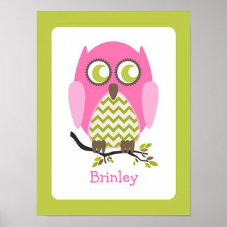 Pink Chevron Owl Personalized Nursery Artwork Print