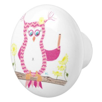 owl nusery room ceramic knob