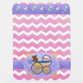 Pink Chevron Pattern Baby Pram Blanket