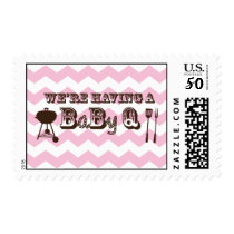 Pink Chevron Pattern Baby Q Stamps