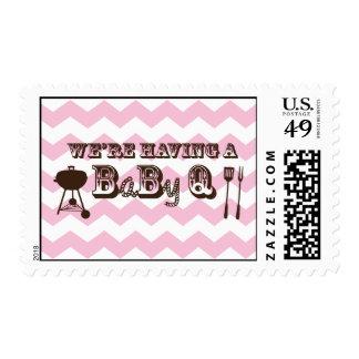 Pink Chevron Pattern Baby Q Stamps