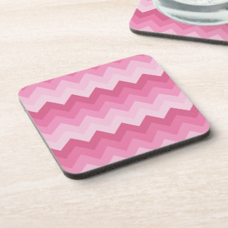 Pink chevron pattern beverage coaster