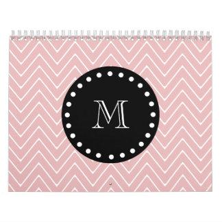 Pink Chevron Pattern Black Monogram Calendar