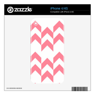 Pink Chevron Pattern Geometric Designs Color Decals For iPhone 4
