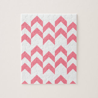 Pink Chevron Pattern Geometric Designs Color Jigsaw Puzzle
