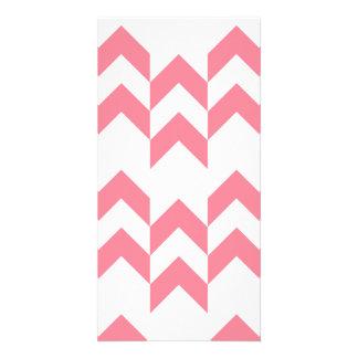 Pink Chevron Pattern Geometric Designs Color Picture Card