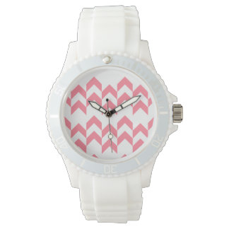 Pink Chevron Pattern Geometric Designs Color Wristwatches