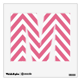 PINK CHEVRON PATTERN LETTER M WALL DECAL