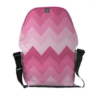 Pink chevron pattern messenger bag