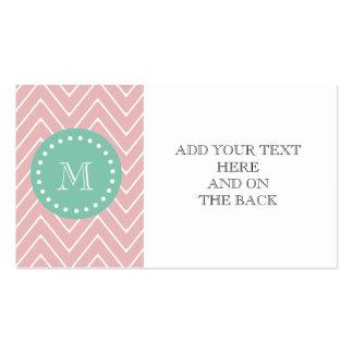 Pink Chevron Pattern | Mint Green Monogram Business Card