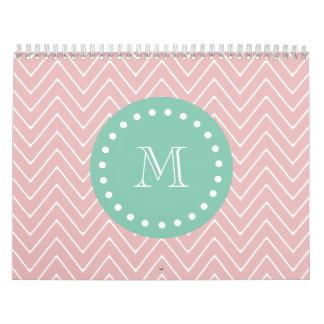 Pink Chevron Pattern Mint Green Monogram Calendars