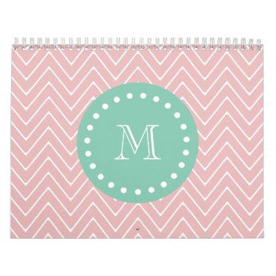 Pink Chevron Pattern | Mint Green Monogram Calendars