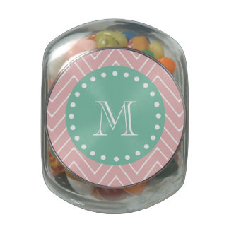 Pink Chevron Pattern | Mint Green Monogram Jelly Belly Candy Jars