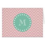 Pink Chevron Pattern | Mint Green Monogram Stationery Note Card
