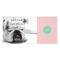 Pink Chevron Pattern | Mint Green Monogram Card