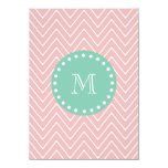 Pink Chevron Pattern | Mint Green Monogram Custom Invite